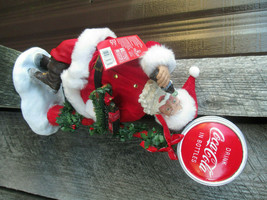 Coca-Cola Kurt S. Adler Fabriche Santa by Lamp Post Sign LED Light Up Ch... - $61.88