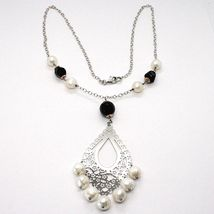 SILVER 925 NECKLACE, ONYX BLACK, WHITE PEARLS, PENDANT FLORAL image 3