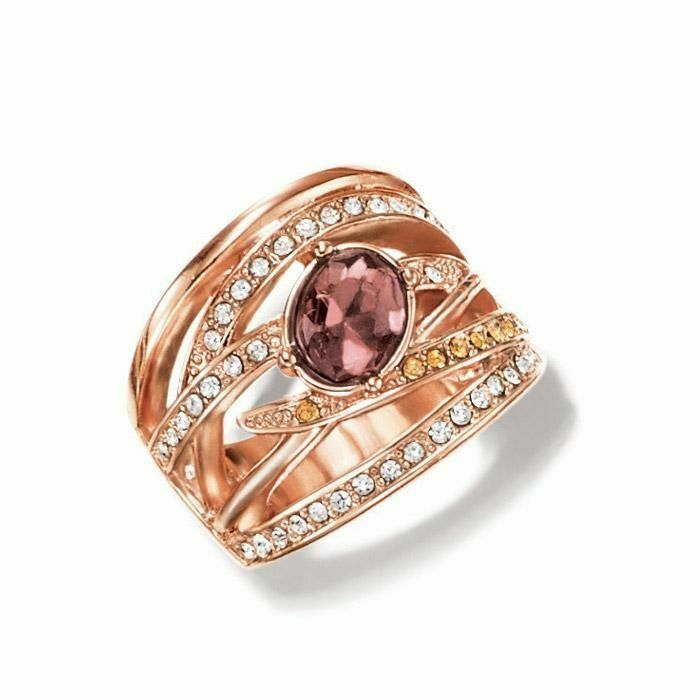 Avon Chocolate Shimmer Ring Size 6 Woven Bands in Warm Tones W/ Faux Gems NEW - $9.99
