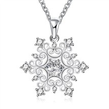 1 ct Created White Sapphire Snowflake Pendant in Sterling Silver - $9.79