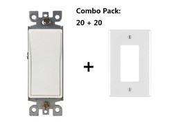 BYBON Combo Packs 20 Single Pole Decora-Style Switches and 20 Wallplates... - $36.62