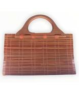 New Neeks Bamboo Tote Wood Exterior Orange Interior Medium Size - $23.76