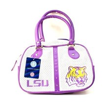NCAA LSU Tigers Bowler Purse - Officially Licensed Team Zipper Stripped ... - $23.22