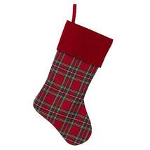 Darice Christmas Tartan Stocking: Red Cuff,8 x 18 inches w - $12.99