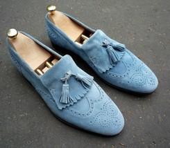 Handmade Men's Blue Suede Fringe Slip Ons Loafer Tassel Shoes image 1