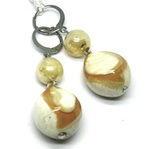 """PENDANT EARRINGS WHITE YELLOW ROUNDED DROP MURANO GLASS 5cm 2"""" MADE IN ITALY image 1"""