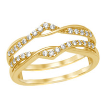 0.25ct Real Diamond 10K Yellow Gold Anniversary Ring Guard Wedding Band ... - €267,04 EUR
