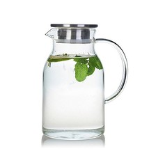 68 Ounces Glass Pitcher with Lid, Water Jug for Hot/Cold Water, Ice Tea ... - $26.05