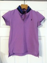 RALPH LAUREN TEENAGE GIRLS PRE-OWNED PURPLE 98%COTTON POLO SHIRT SIZE:L(... - $27.04