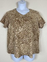 Catherines Womens Plus Size 0X Brown Abstract Paisley Pattern T-Shirt V ... - $19.80