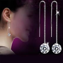 Zircon Elegant Drop Dangle Chain Earrings For Women Hangers luxury jewel... - $9.66