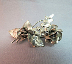 VTG Carl Art CA Sterling Silver Rhinestone Flower Rose Brooch Pendant Ba... - $24.74