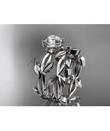 Platinum vine and leaf engagement ring with a Moissanite center stone AD... - $2,100.00