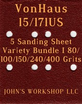 VonHaus 15/171US - 80/100/150/240/400 Grits - 5 Sandpaper Variety Bundle I - $7.53