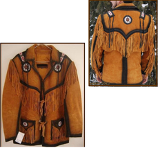 New Men's Tan Western / Native American Suede Leather Beads Fringes Jack... - $177.21+