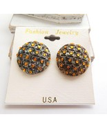 Vintage Antiqued Silver Dome Amber Orange Faux Crystal Dome Clip On Earr... - $12.74