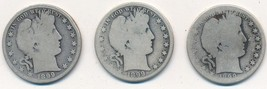 1899 BARBER SILVER HALF DOLLAR LOT-3 DIFFERENT MINTS-P,O,S-CIRCULATED-FR... - $44.95