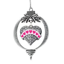 Inspired Silver Pink Candy Pave Heart Holiday Ornament - €13,13 EUR