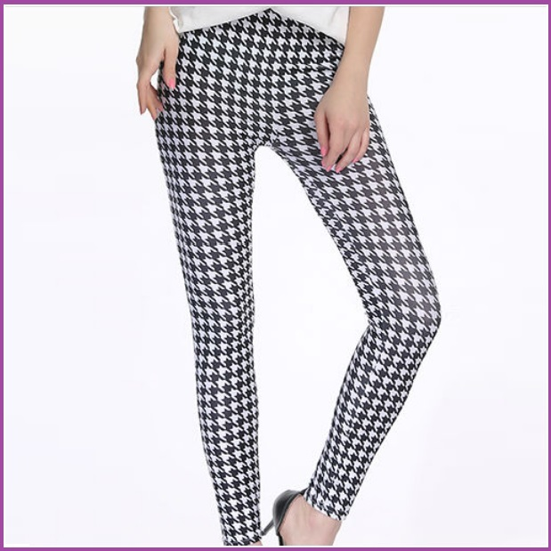 Houndstooth Black n White Plus Size Stretch Faux Latex Mid Waist Leggings
