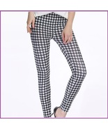 Houndstooth Black n White Plus Size Stretch Faux Latex Mid Waist Leggings  - $48.95
