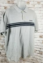 Chaps Ralph Lauren Mens Sz Large Short Sleeve Polo Shirt Gray Navy Strip... - $10.95