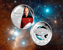 2015 Star Trek Jean-Luc Picard & Enterprise NCC-1701D 1oz .999 Silver 2 Coin Set