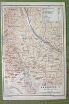 GERMANY Hannover Plan City Center Downtown - 1904 MAP ORIGINAL Baedeker - $5.07