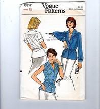 Vogue Sewing Pattern #8917 Yoke Waist Tie Blouse Notch Collar V Neck Size 12 - $12.38