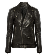 New Black Women Leather Jacket Quilted Biker Motorcycle Size XS S M L XL... - $179.65