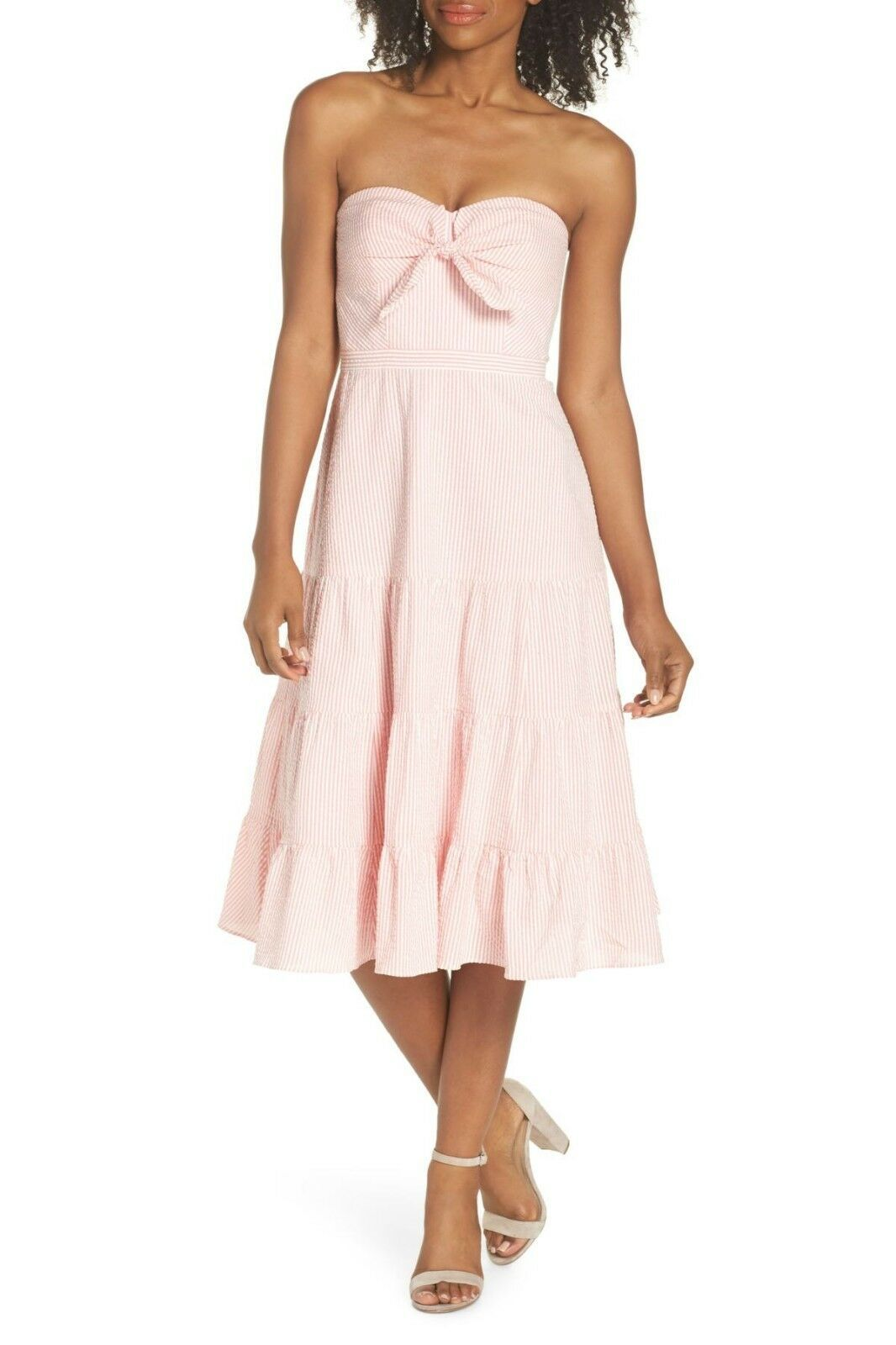 Primary image for J.crew Tie Front Strapless Dress, Bright coral, size 8 Retail $158, #G1006