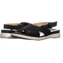 naturalizer Eliza Flat Ankle Strap Sandals 882, Black Leather, 9 US / 39 EU - $28.78