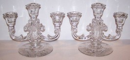 GORGEOUS VINTAGE PAIR OF FOSTORIA GLASS MIDNIGHT ROSE THREE LIGHT CANDLE... - $79.19