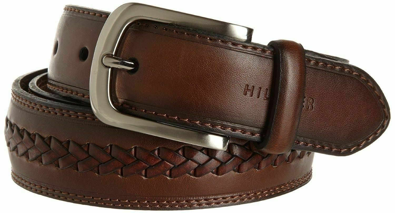 Tommy Hilfiger Men's Premium 35MM Braided Leather Belt Brown 11TL02X047