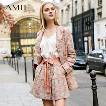 Amii Minimalist Tweed Two Pieces Set Autumn Office Lady Loose Lapel Blazer MIni  image 1