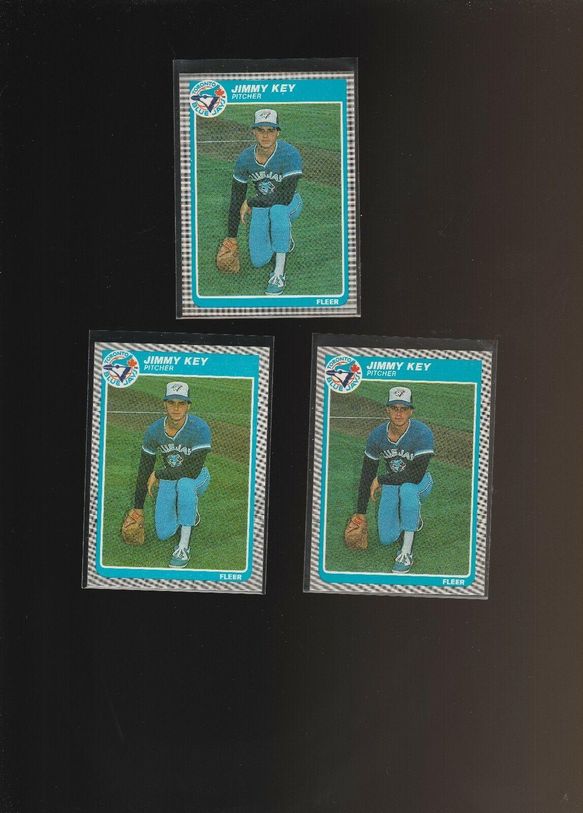 1985 Fleer #110 Jimmy Key RC Rookie Blue Jays Lot of 3