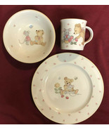 Cute Gift Mikasa Japan Teddy's 3 Piece Set Child Place Setting Plate Bow... - $18.99