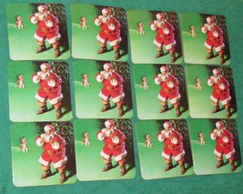 Lot of 12 Coasters Santa Claus Dog Coca-Cola - Holiday Decor