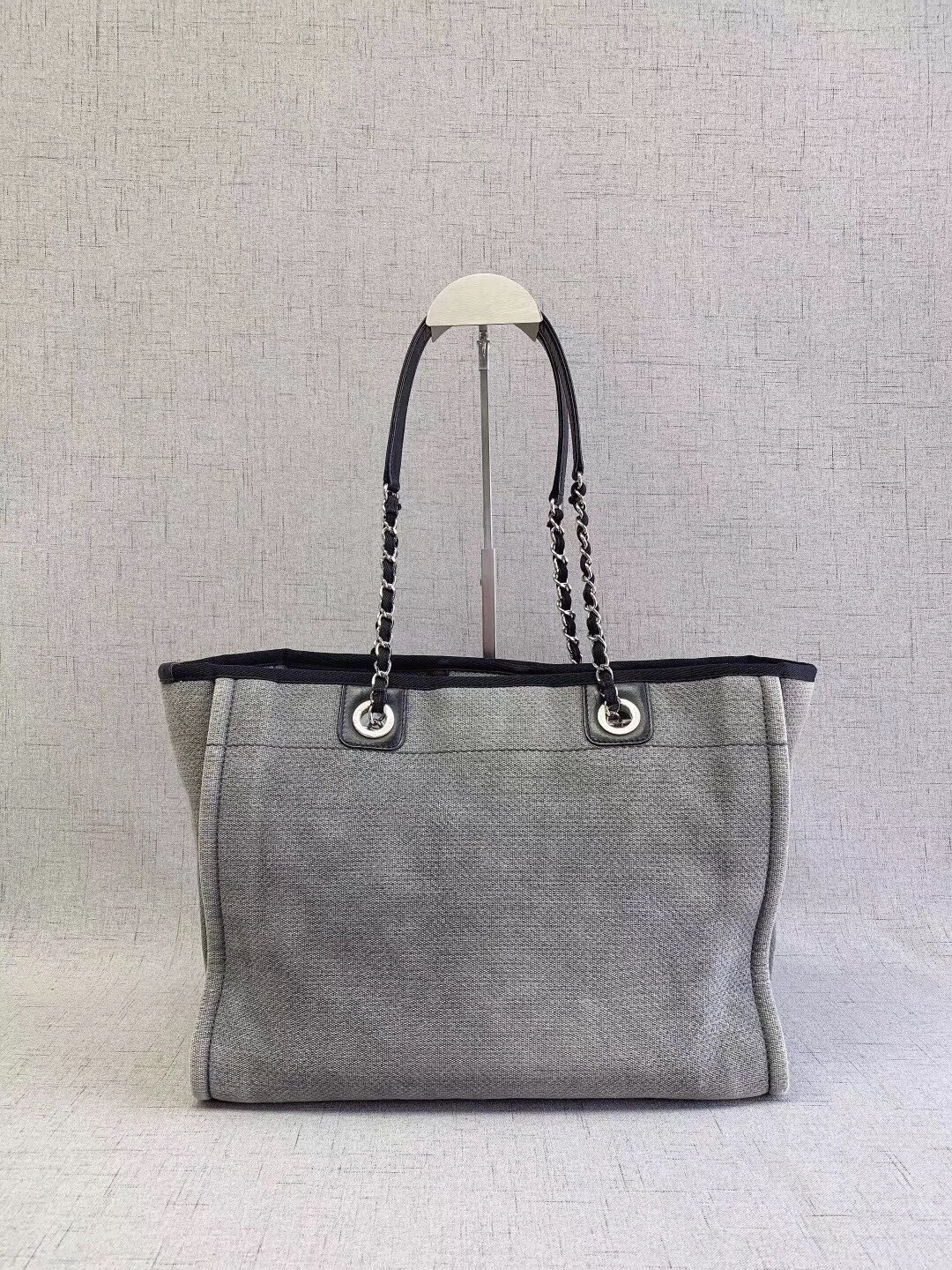 50942f712d AUTHENTIC CHANEL BLUE GREY MEDIUM CANVAS DEAUVILLE 2 WAY TOTE BAG ...