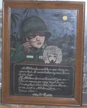 VTG SAD EYE DOG FACE TRENCH ART ARMY SOLDIER PAINTING VELVET MOTHER DAY ... - $299.00