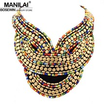 MANILAI Boho Jewelry Fashion Multicolor Candy Beads Collar Necklace Hand... - $9.70