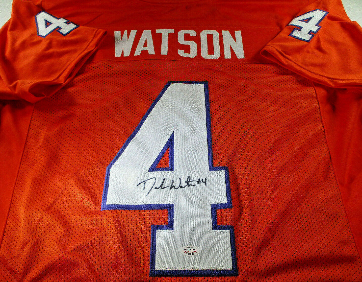 DESHAUN WATSON / AUTOGRAPHED HOUSTON TEXANS ORANGE CUSTOM FOOTBALL JERSEY / COA