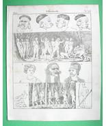 SOUTH AMERICA Natives Botocudo Indians Puri Hawaii - 1825 Antique Print - $16.20