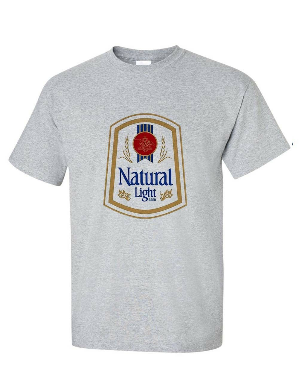 Natural Light Beer T-shirt retro vintage style distressed print grey graphic tee