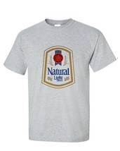Natural Light Beer T-shirt retro vintage style distressed print grey graphic tee image 1