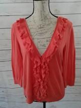 Talbots Petites Cardigan size Small Ruffle Front Pima Cotton Sweater Cor... - $14.01