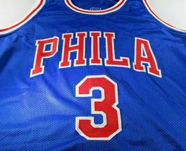 ALLEN IVERSON / NBA HALL OF FAME / AUTOGRAPHED 76ERS CUSTOM BASKETBALL JERSEY  image 2