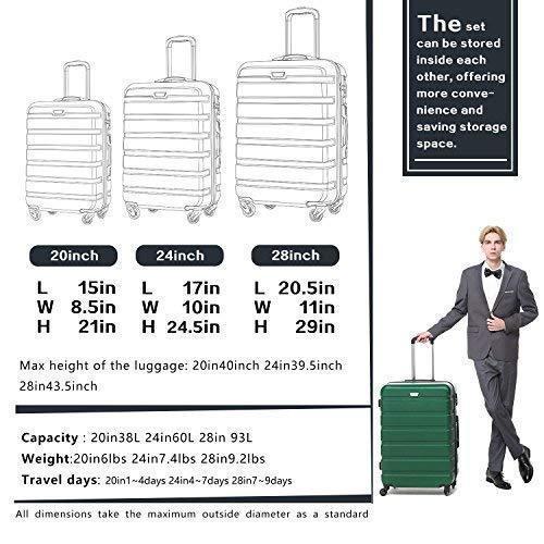 Spinner Luggage 3 Piece Set ABS Wheeled Suitcase Hardshell TSA Lightweight Blue