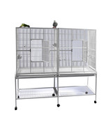 A&E DOUBLE FLIGHT CAGE WITH DIVIDER ON CASTERS BOTTOM SHELF WHITE SLIDE ... - $350.00