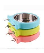 Pet Bowl Cage Hanging Stainless Steel 2in1 Rabbit Feeding Food Water Dis... - $28.39+