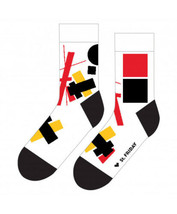 Designer Socken Suprematism Kazimir Malevich White Natural Cotton - $10.14